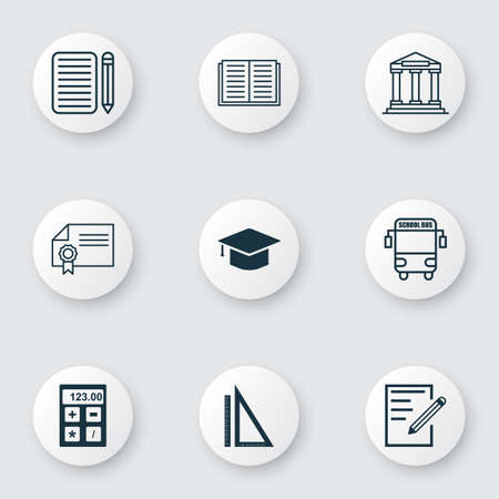 essay: Set Of 9 School Icons. Includes College, Graduation, Paper And Other Symbols. Beautiful Design Elements.