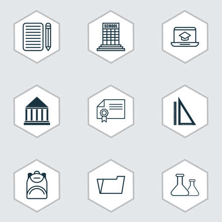 article writing: Set Of 9 Education Icons. Includes Measurement, Haversack, Diploma And Other Symbols. Beautiful Design Elements. Illustration
