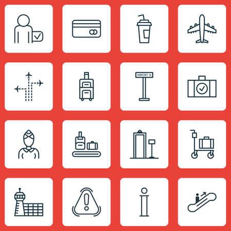 globetrotter: Set Of 16 Transportation Icons. Includes Airplane Information, Globetrotter, Information And Other Symbols. Beautiful Design Elements.