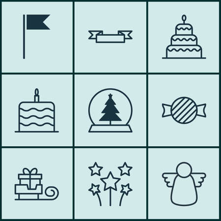 skid: Set Of 9 Celebration Icons. Includes Flag Point, Toffee Candy, Dessert Symbols. Beautiful Design Elements.