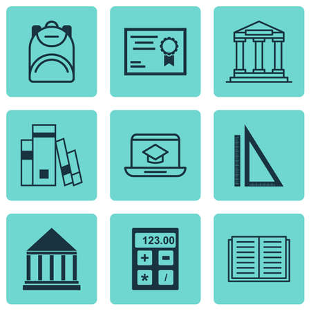 Set Of 9 School Icons. Includes Library, Education Center, College And Other Symbols. Beautiful Design Elements.