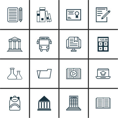 essay: Set Of 16 Education Icons. Includes Home Work, Distance Learning, E-Study And Other Symbols. Beautiful Design Elements.