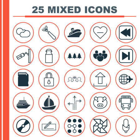 Set Of 25 Universal Editable Icons. Can Be Used For Web, Mobile And App Design. Includes Elements Such As Worldwide Flight, Money Transfer, Piglet And More.