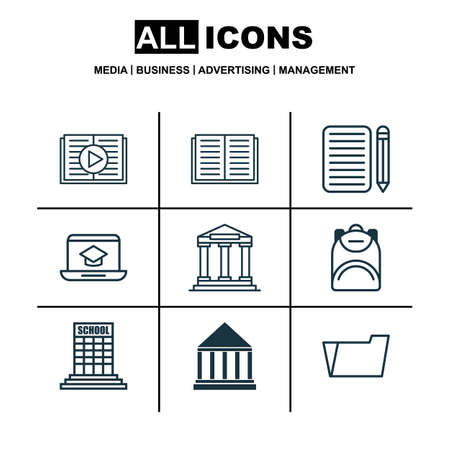article writing: Set Of 9 School Icons. Includes Home Work, Document Case, Academy And Other Symbols. Beautiful Design Elements. Illustration
