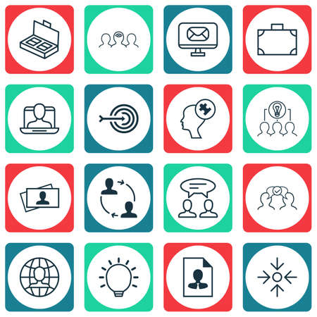 Set Of 16 Business Management Icons. Includes Calling Card, Great Glimpse, Social Profile And Other Symbols. Beautiful Design Elements.