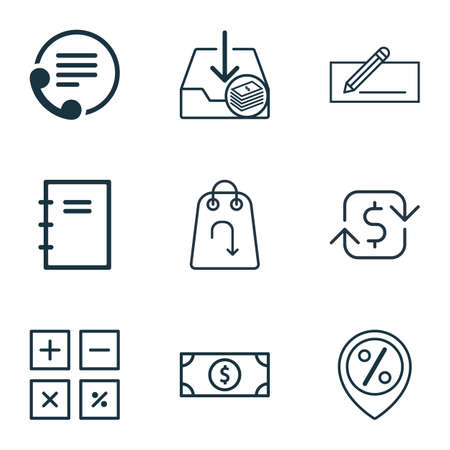 cash book: Set Of 9 E-Commerce Icons. Includes Spiral Notebook, Withdraw Money, Recurring Payements And Other Symbols. Beautiful Design Elements.