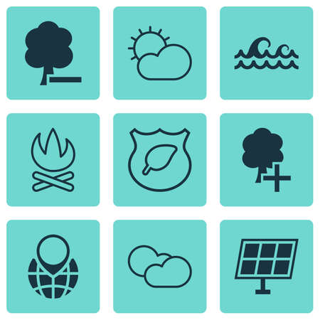 greenness: Set Of 9 Eco-Friendly Icons. Includes Guard Tree, Ocean Wave, Sun Power And Other Symbols. Beautiful Design Elements.