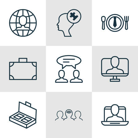identity management: Set Of 9 Business Management Icons. Includes Online Identity, Human Mind, Dialogue And Other Symbols. Beautiful Design Elements. Illustration