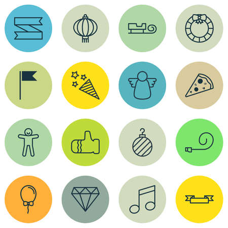 crotchets: Set Of 16 Happy New Year Icons. Includes Placard, Flag Point, Crotchets And Other Symbols. Beautiful Design Elements. Illustration