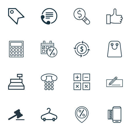 pager: Set Of 16 Commerce Icons. Includes Till, Calculator, Price Stamp And Other Symbols. Beautiful Design Elements.