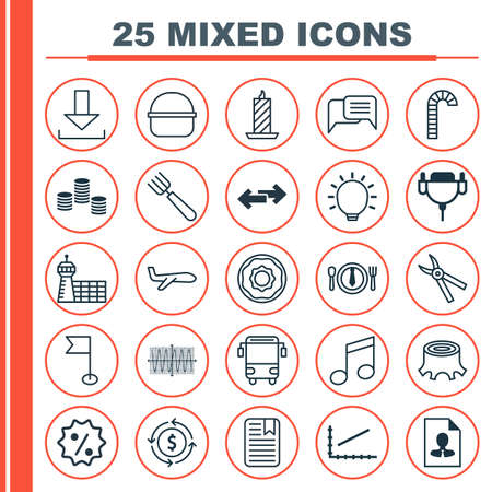 Set Of 25 Universal Editable Icons. Can Be Used For Web, Mobile And App Design. Includes Elements Such As Tree Stub, Line Graph, Air Transport And More. Illustration
