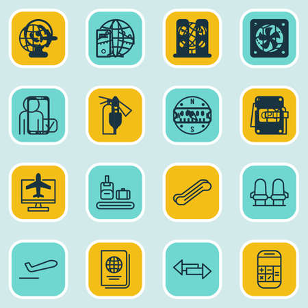 school bills: Set Of 16 Airport Icons. Includes Road Map, Locate, Airliner And Other Symbols. Beautiful Design Elements.