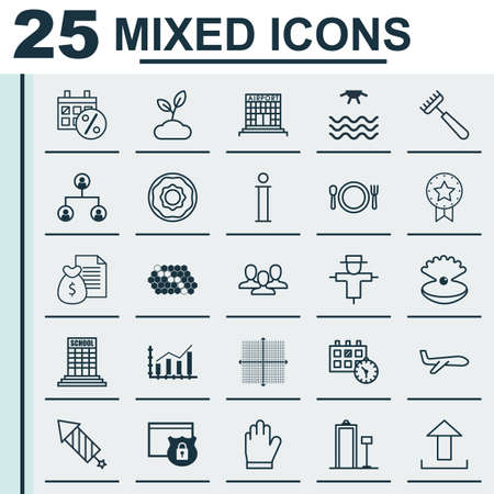 airfield: Set Of 25 Universal Editable Icons. Can Be Used For Web, Mobile And App Design. Includes Elements Such As Airfield Manufacture, Rake, Sunrise And More.
