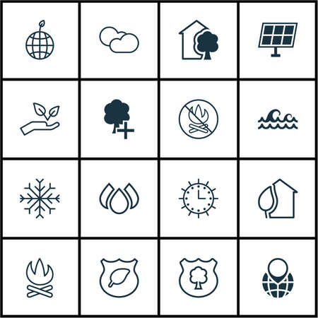 greenness: Set Of 16 Eco Icons. Includes Cloud Cumulus, World Ecology, Fire Banned And Other Symbols. Beautiful Design Elements.