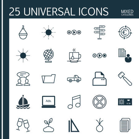 Set Of 25 Universal Editable Icons. Can Be Used For Web, Mobile And App Design. Includes Elements Such As Vehicle Car, Champagne Glasses, Garlic And More.