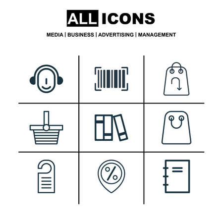 Set Of 9 Commerce Icons. Includes Price, Pannier, Employee And Other Symbols. Beautiful Design Elements.