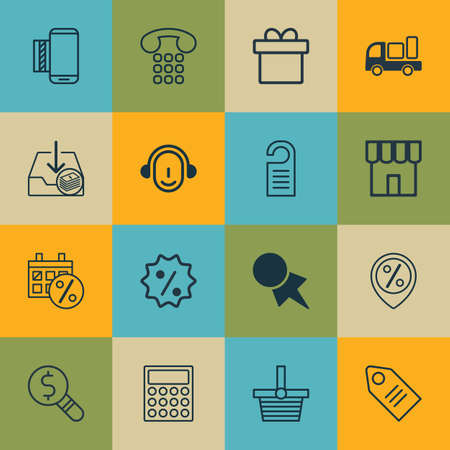pager: Set Of 16 E-Commerce Icons. Includes Mobile Service, Black Friday, Calculator And Other Symbols. Beautiful Design Elements.