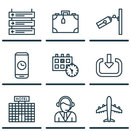 airways: Set Of 9 Airport Icons. Includes Video Surveillance, Operator, Call Duration And Other Symbols. Beautiful Design Elements. Illustration