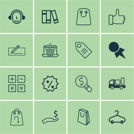 pager: Set Of 16 Commerce Icons. Includes Peg, Discount Coupon, Tote Bag And Other Symbols. Beautiful Design Elements.