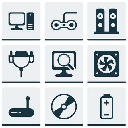 Set Of 9 Computer Hardware Icons. Includes Cd-Rom, Vga Cord, Router And Other Symbols. Beautiful Design Elements. Illustration