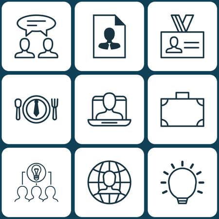 Set Of 9 Business Management Icons. Includes Social Profile, Portfolio, Great Glimpse And Other Symbols. Beautiful Design Elements. Ilustração