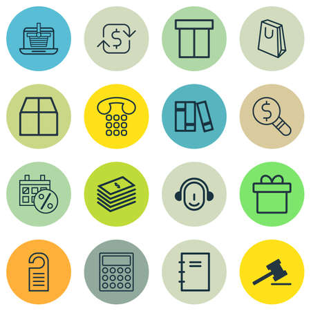 courthouse: Set Of 16 Commerce Icons. Includes Employee, Calculator, Present And Other Symbols. Beautiful Design Elements.