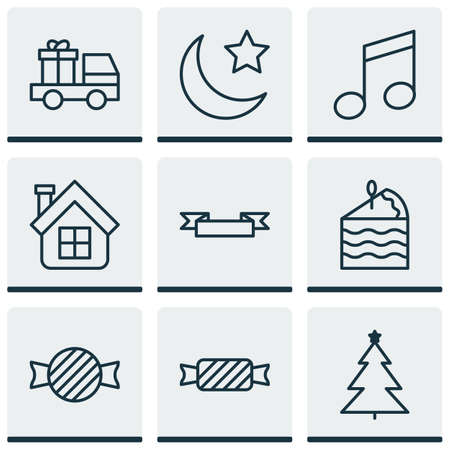 crotchets: Set Of 9 Happy New Year Icons. Includes Crotchets, Residential, Placard And Other Symbols. Beautiful Design Elements.