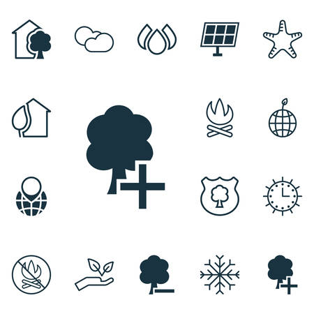 greenness: Set Of 16 Ecology Icons. Includes Fire Banned, Snow, Home And Other Symbols. Beautiful Design Elements. Illustration