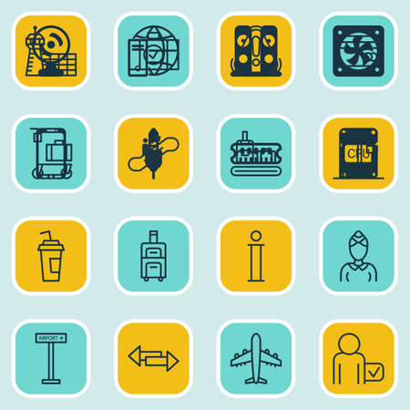 globetrotter: Set Of 16 Airport Icons. Includes Security Scanner, Drink Cup, Airliner And Other Symbols. Beautiful Design Elements. Illustration