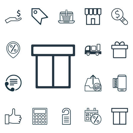 electronic voting: Set Of 16 Commerce Icons. Includes Present, Calculator, Telephone And Other Symbols. Beautiful Design Elements.