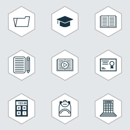 essay: Set Of 9 School Icons. Includes Home Work, Certificate, Opened Book And Other Symbols. Beautiful Design Elements.