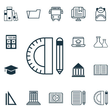 directory book: Set Of 16 Education Icons. Includes Distance Learning, Chemical, Opened Book And Other Symbols. Beautiful Design Elements. Illustration