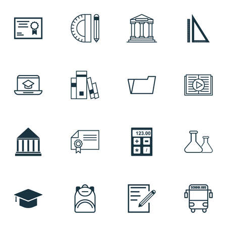 article writing: Set Of 16 School Icons. Includes Document Case, Haversack, Transport Vehicle And Other Symbols. Beautiful Design Elements. Illustration