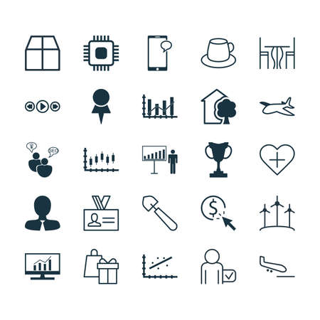 Set Of 25 Universal Editable Icons. Can Be Used For Web, Mobile And App Design. Includes Elements Such As Scoop, Music Control, Project Presentation And More. Illustration