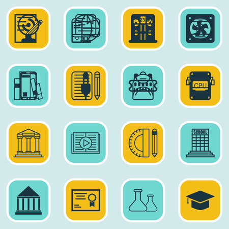 Set Of 16 Education Icons. Includes Library, Distance Learning, Graduation And Other Symbols. Beautiful Design Elements.