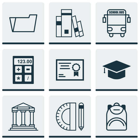 open magazine: Set Of 9 Education Icons. Includes Graduation, Library, Document Case And Other Symbols. Beautiful Design Elements.