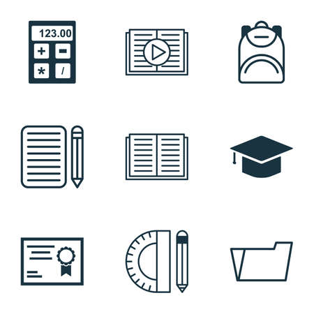 article writing: Set Of 9 Education Icons. Includes Graduation, Certificate, Home Work And Other Symbols. Beautiful Design Elements.