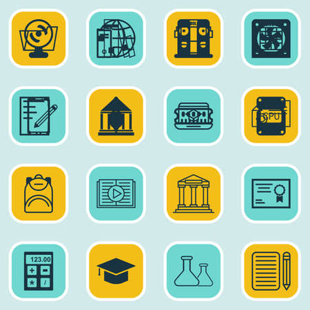 article writing: Set Of 16 School Icons. Includes Home Work, Distance Learning, Academy And Other Symbols. Beautiful Design Elements.