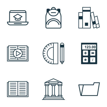 directory book: Set Of 9 Education Icons. Includes Haversack, Library, Distance Learning And Other Symbols. Beautiful Design Elements.