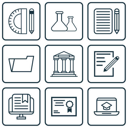 Set Of 9 School Icons. Includes Home Work, College, Document Case And Other Symbols. Beautiful Design Elements.