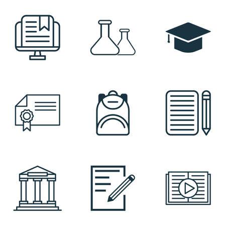 Ensemble de 9 icônes scolaires. Comprend le livre imprimé, le collège, l'obtention du diplôme et d'autres symboles. Beaux éléments de conception. Vecteurs