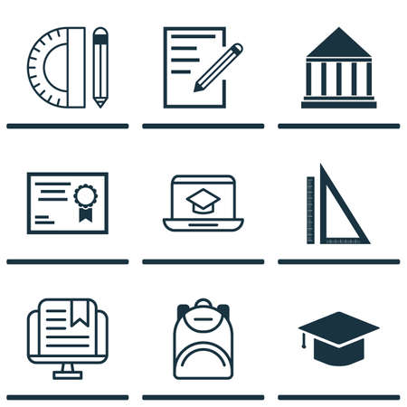 pocket size: Set Of 9 Education Icons. Includes Paper, E-Study, Education Center And Other Symbols. Beautiful Design Elements. Illustration