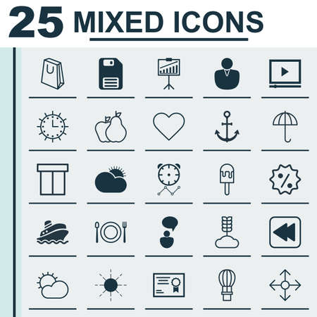 Set Of 25 Universal Editable Icons. Can Be Used For Web, Mobile And App Design. Includes Elements Such As Reminder, Rebate Sign, Sun And More.