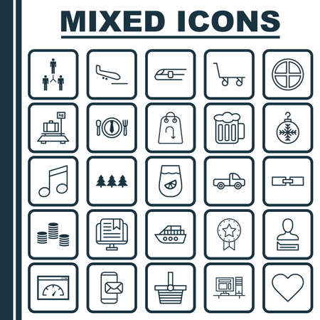 Set Of 25 Universal Editable Icons. Can Be Used For Web, Mobile And App Design. Includes Elements Such As Pannier, Boat, Cargo Cart And More.