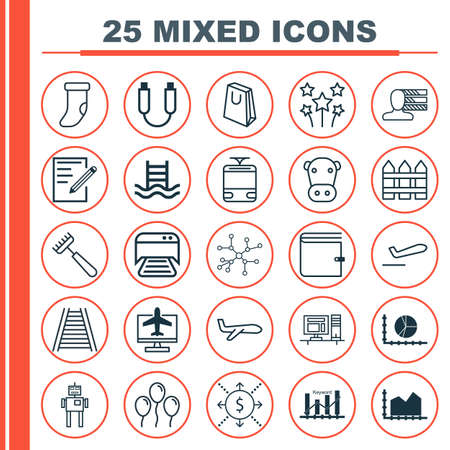 kine: Set Of 25 Universal Editable Icons. Can Be Used For Web, Mobile And App Design. Includes Elements Such As Air Ball, Circle Graph, Kine And More. Illustration