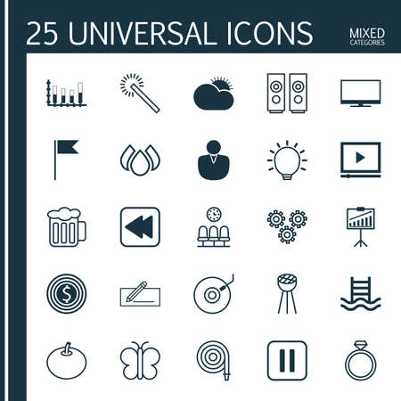 Set Of 25 Universal Editable Icons. Can Be Used For Web, Mobile And App Design. Includes Elements Such As Money Transfer, Great Glimpse, Sound Box And More.