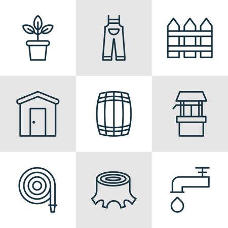 Set Of 9 Farm Icons. Includes Cask, Fire Tube, Barrier And Other Symbols. Beautiful Design Elements. Ilustração