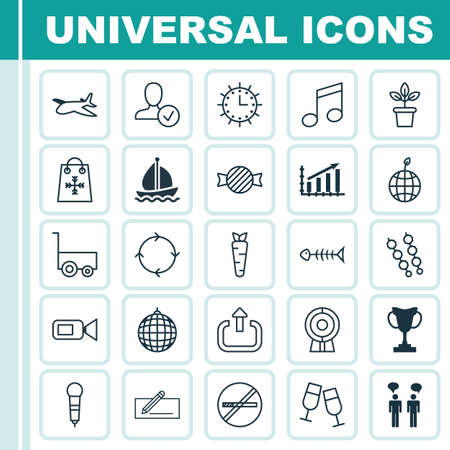 Set Of 25 Universal Editable Icons. Can Be Used For Web, Mobile And App Design. Includes Elements Such As Dance Club, Plane, Web Discussing And More. Illustration