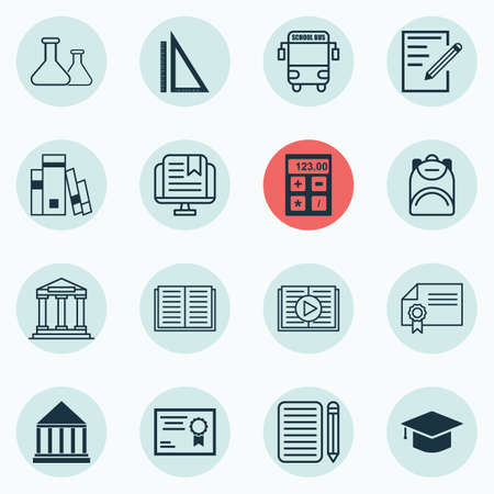 essay: Set Of 16 Education Icons. Includes Home Work, Transport Vehicle, E-Study And Other Symbols. Beautiful Design Elements.