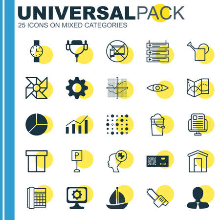 bailer: Set Of 25 Universal Editable Icons. Can Be Used For Web, Mobile And App Design. Includes Elements Such As Sailboat, Human Mind, Bailer And More. Illustration